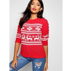 Boohoo Snowflake Sweater, Red White Print, S/M